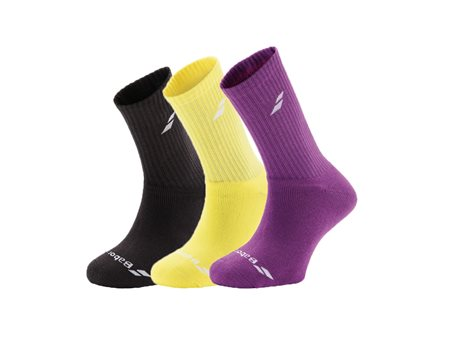 Babolat Ponožky 3 Pairs Pack Black/Purple/Yellow junior